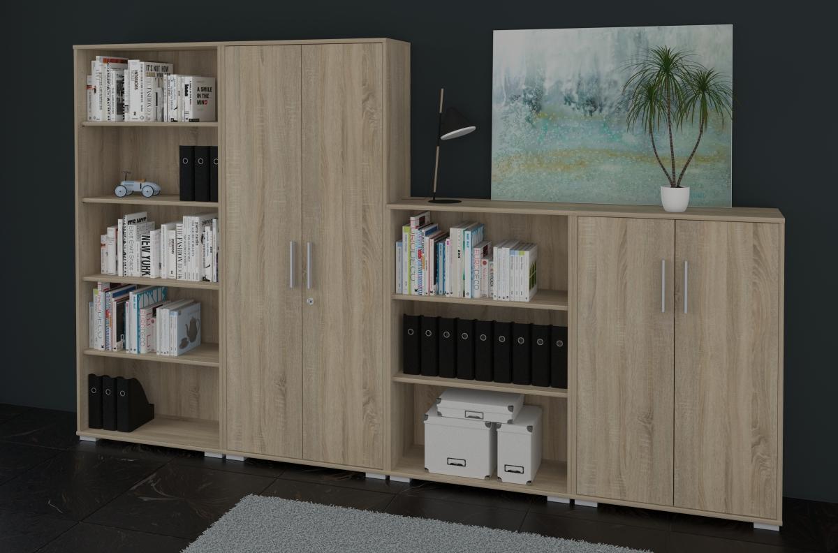 aktenschrank und regal set 4 teilig in sonoma eiche dekor onlineshop k nig berger. Black Bedroom Furniture Sets. Home Design Ideas